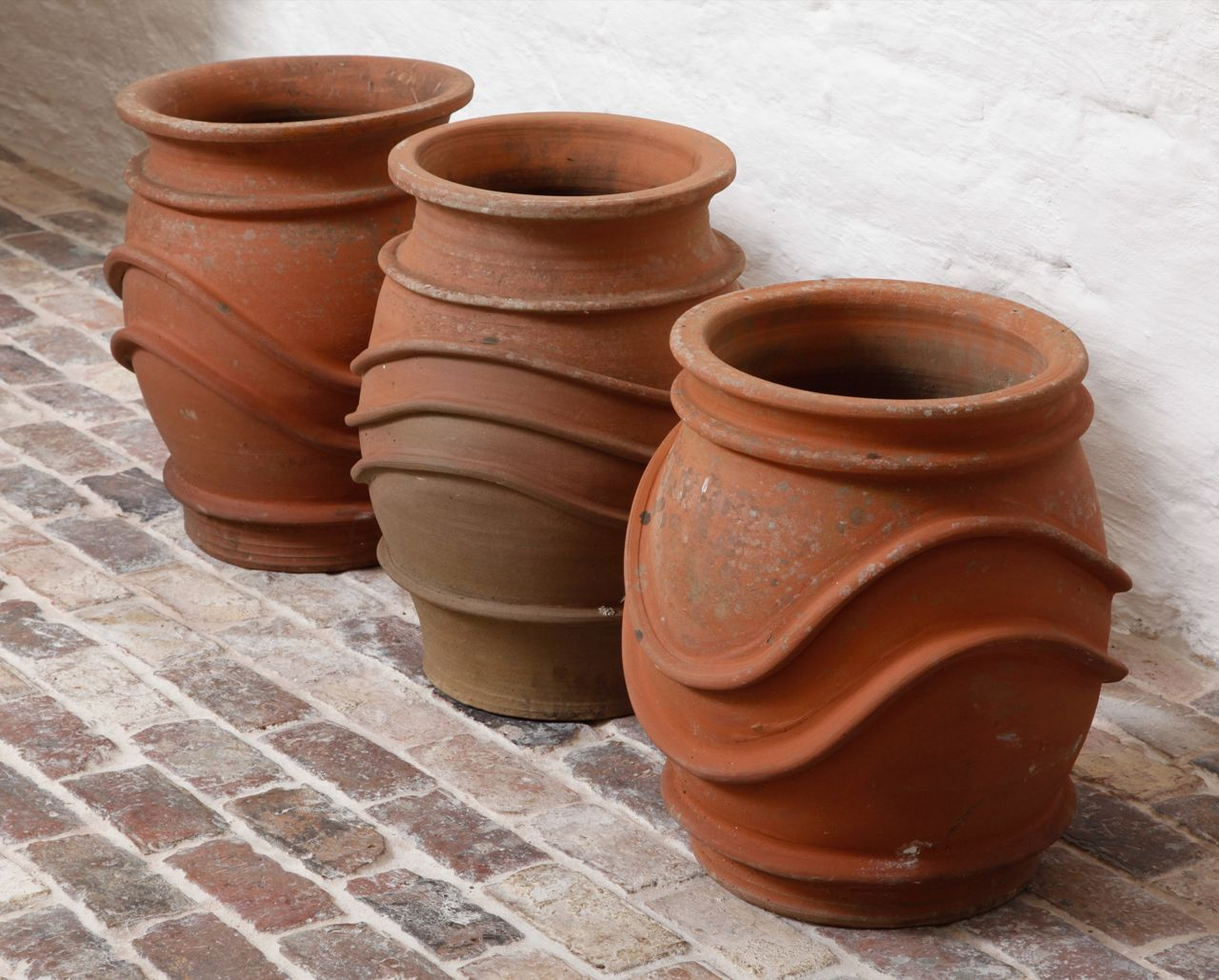 Set of 3 English 1950s terracotta pots
