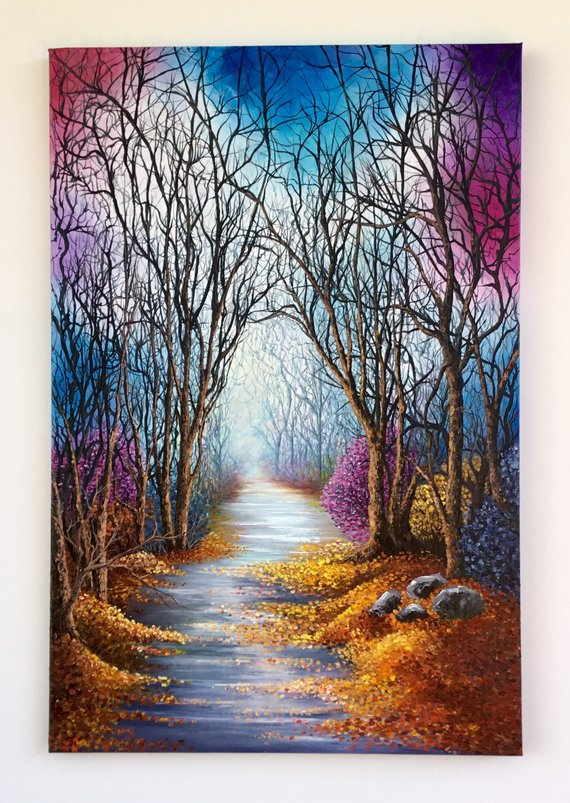 "Original Acrylic Painting /Artwork on Stretched Canvas /Palette Knife /Wall Art /Home Decor/Modern Art/30""x20""x0.75""/Title""Step in The Fogg"""