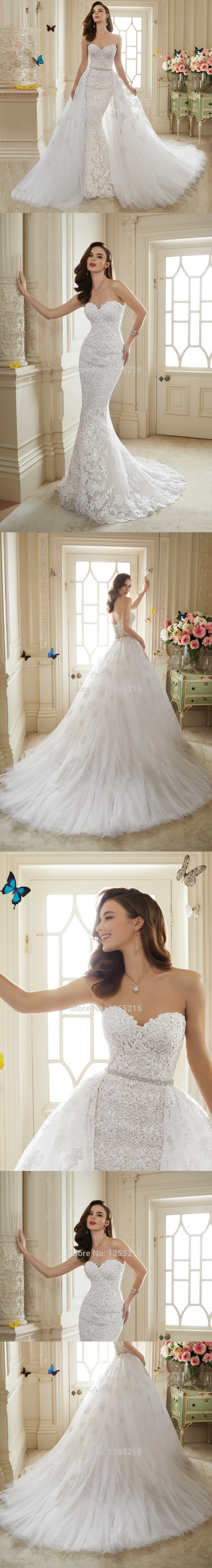 Gorgeous Style Elegant Off the Shoulder Mermaid Wedding Dresses 2015 Lace Bridal Gowns with Detachable Royal Train