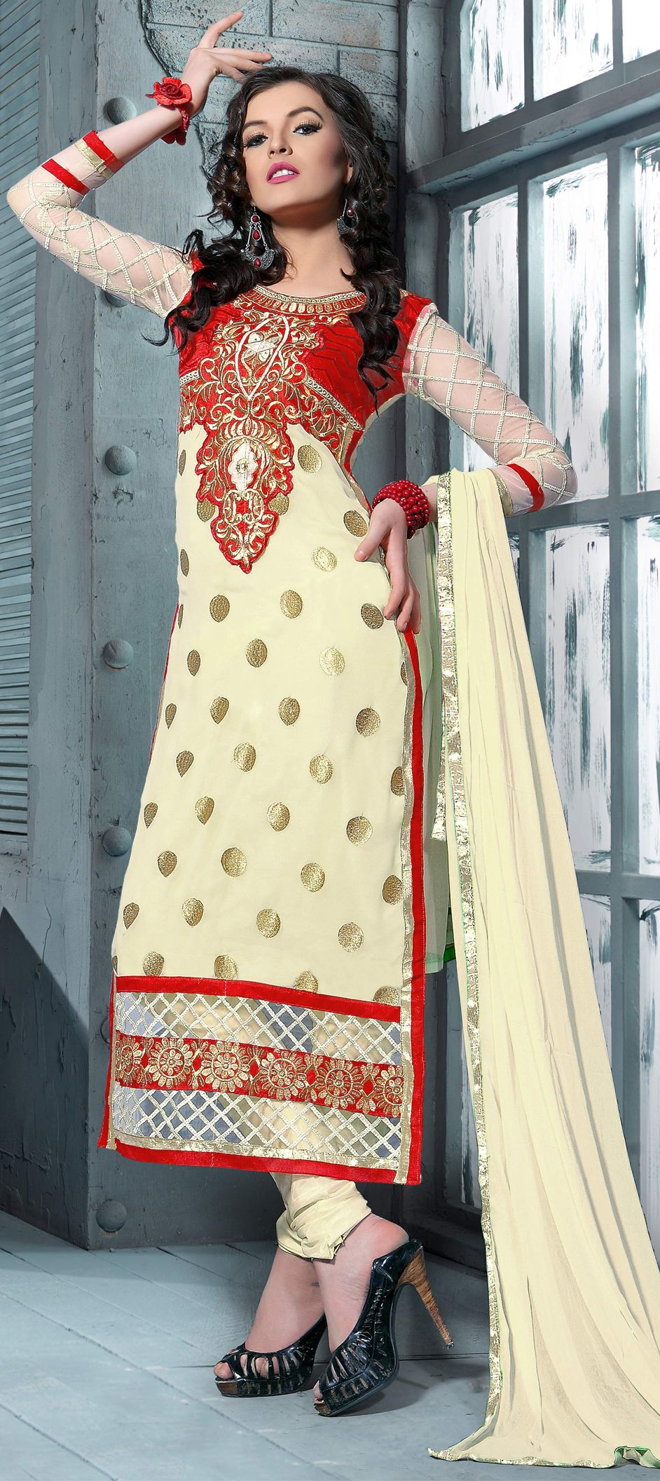 beige and brown color family unstitched party wear salwar