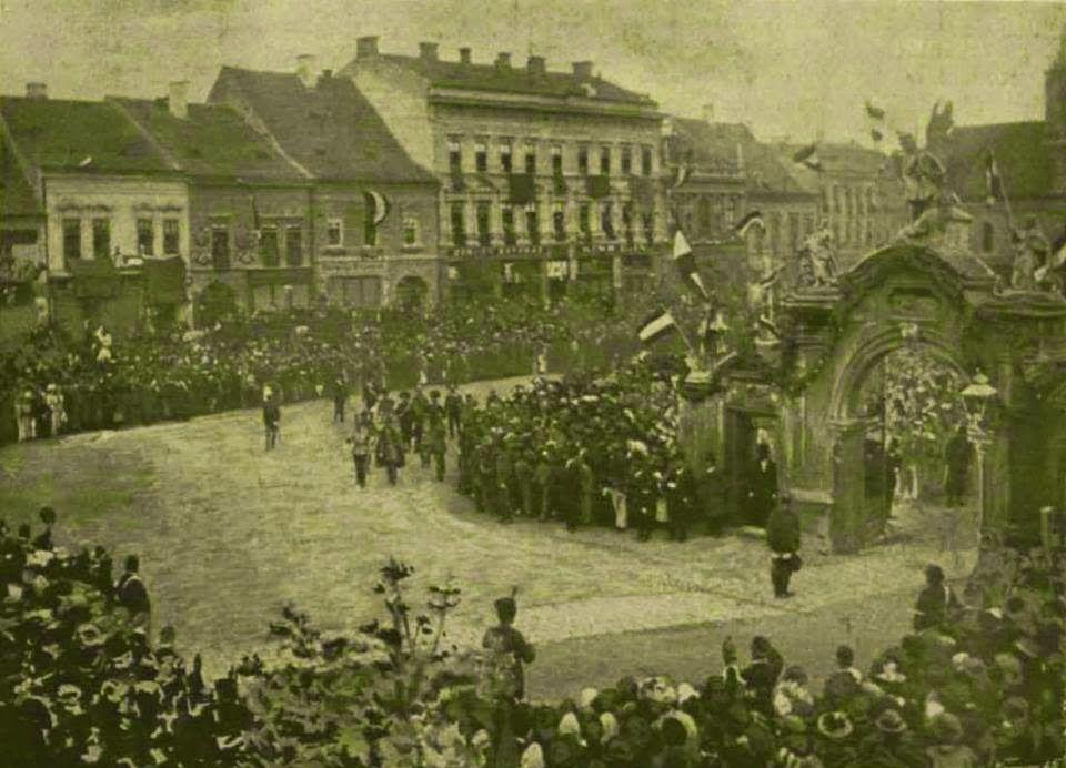 Vizita Împăratului Franz Josef la Cluj. Fotografie realizată în studioul Dunky Fivérek