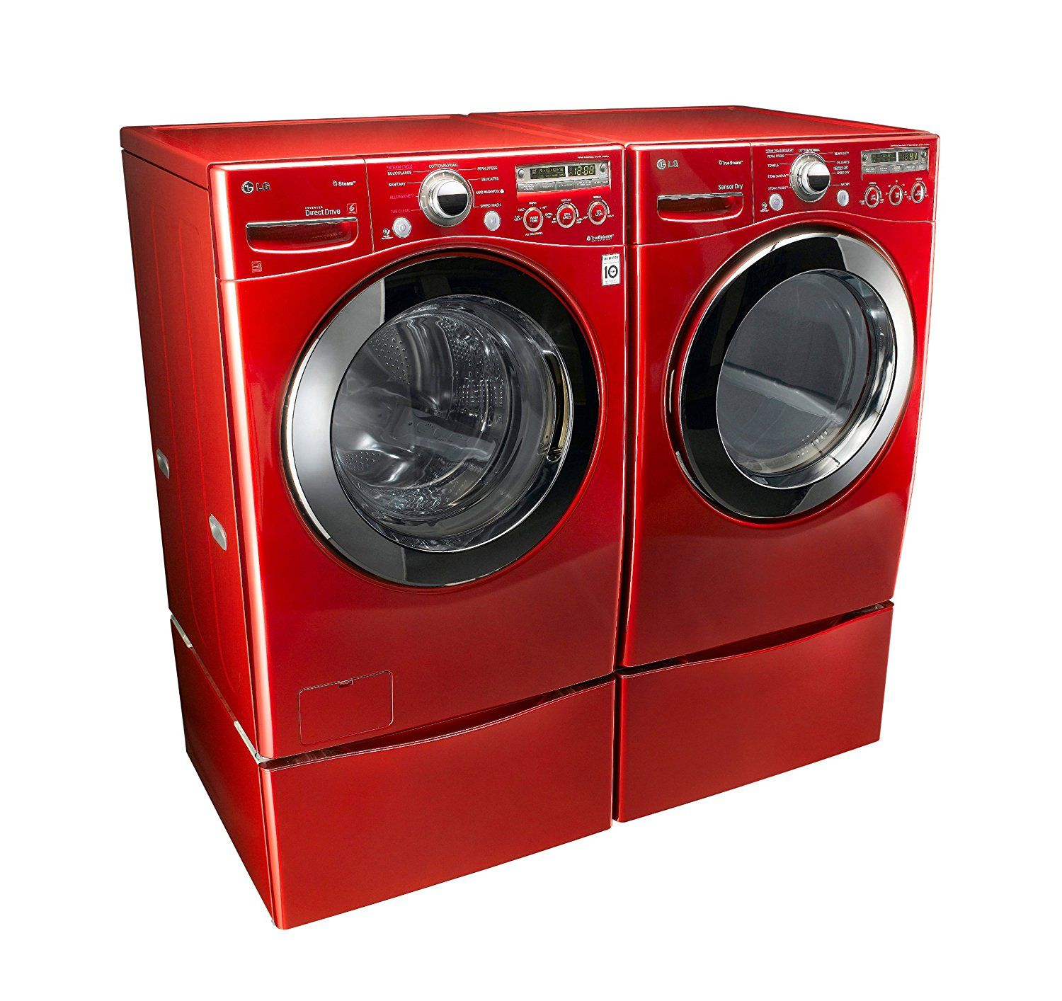 Amazon Com Lg Wild Cherry Red Steam Laundry Pair With Matching Pedestals And Electric Dryer Lg Washer And Dryer Laundry Pedestal Whirlpool Washer And Dryer