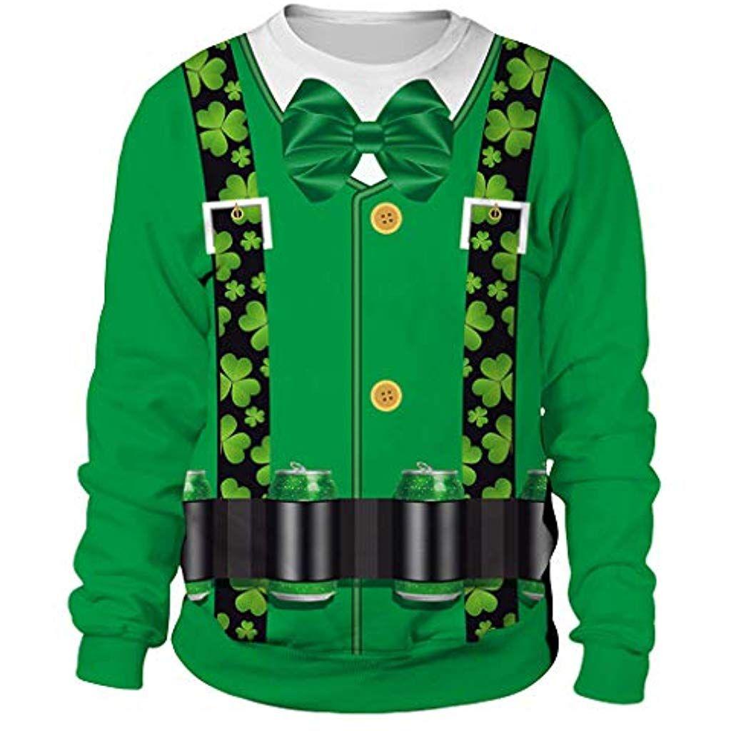 d7ec353bc9a Lonshell Sweatshirt Pull Moche Homme Imprimé Imitation Trèfle St Patrick  Day Chapeau Homme Sweat-Shirt