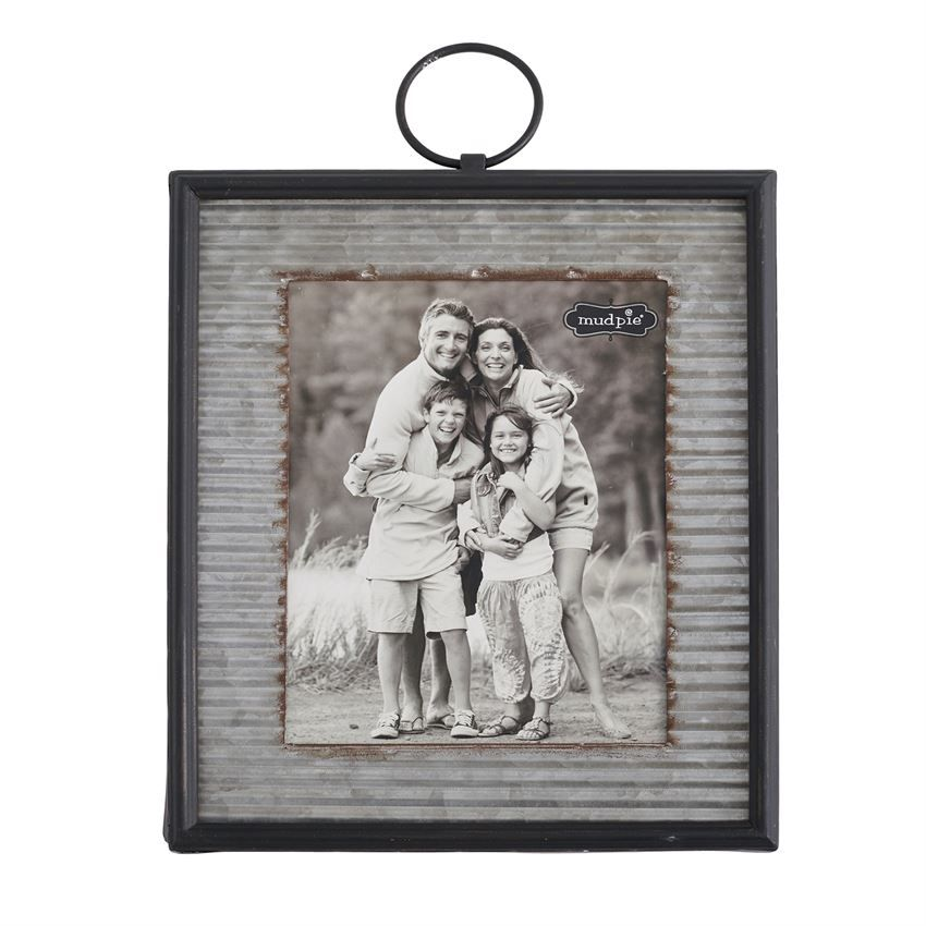 Corrugate Tin Frame Features Beveled Metal Border Hinged Metal Loop For Hanging And Holds 10 X 8 Photo Inserted T Corrugated Tin Corrugated Corrugated Metal