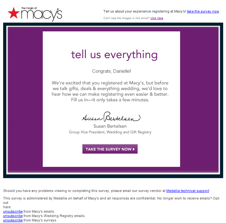 Macys Wedding Registry Survey Email Email Autoregistrywish