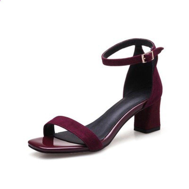 b2bfef124 Sandalias Mujer Apressado Real Sólido Sapato Feminino 2018 Sandálias De  Salto Alto Sapatos de Verão Do