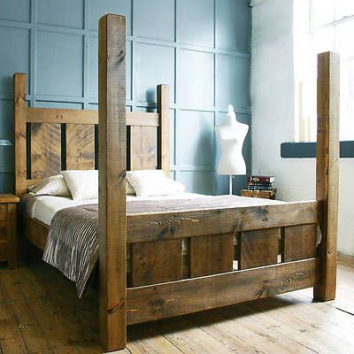 Handmade Solid Pine Chunky Slatted Four Poster Single Double