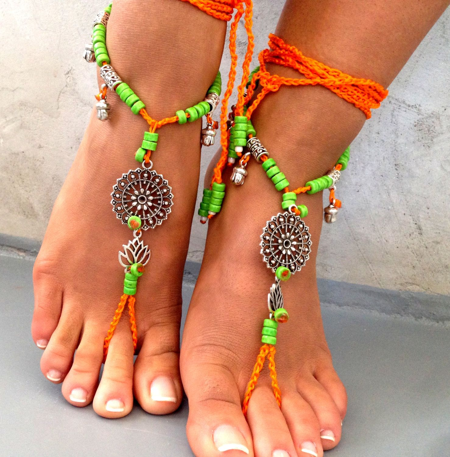 Barefoot Sandals. Beach Sandal Beaded Sandals