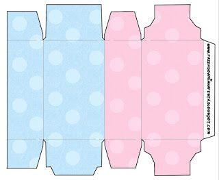 Rosa e Azul Poá – Kit Completo com molduras para convites, rótulos para guloseimas, lembrancinhas e imagens! |Fazendo a Nossa Festa