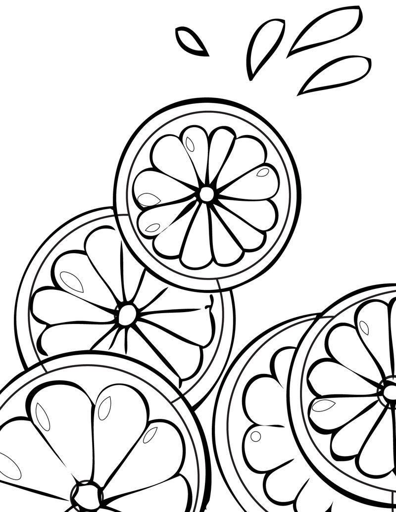Citris Fruit Coloring Page Fruit Coloring Pages Summer Coloring Pages Food Coloring Pages