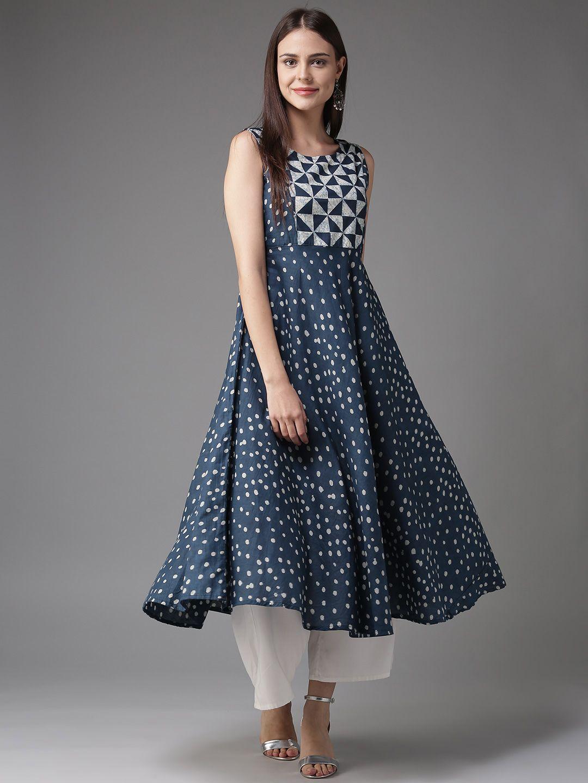 e08446d156154 Buy HERE&NOW Women Blue & Off White Printed A Line Kurta - - Apparel ...