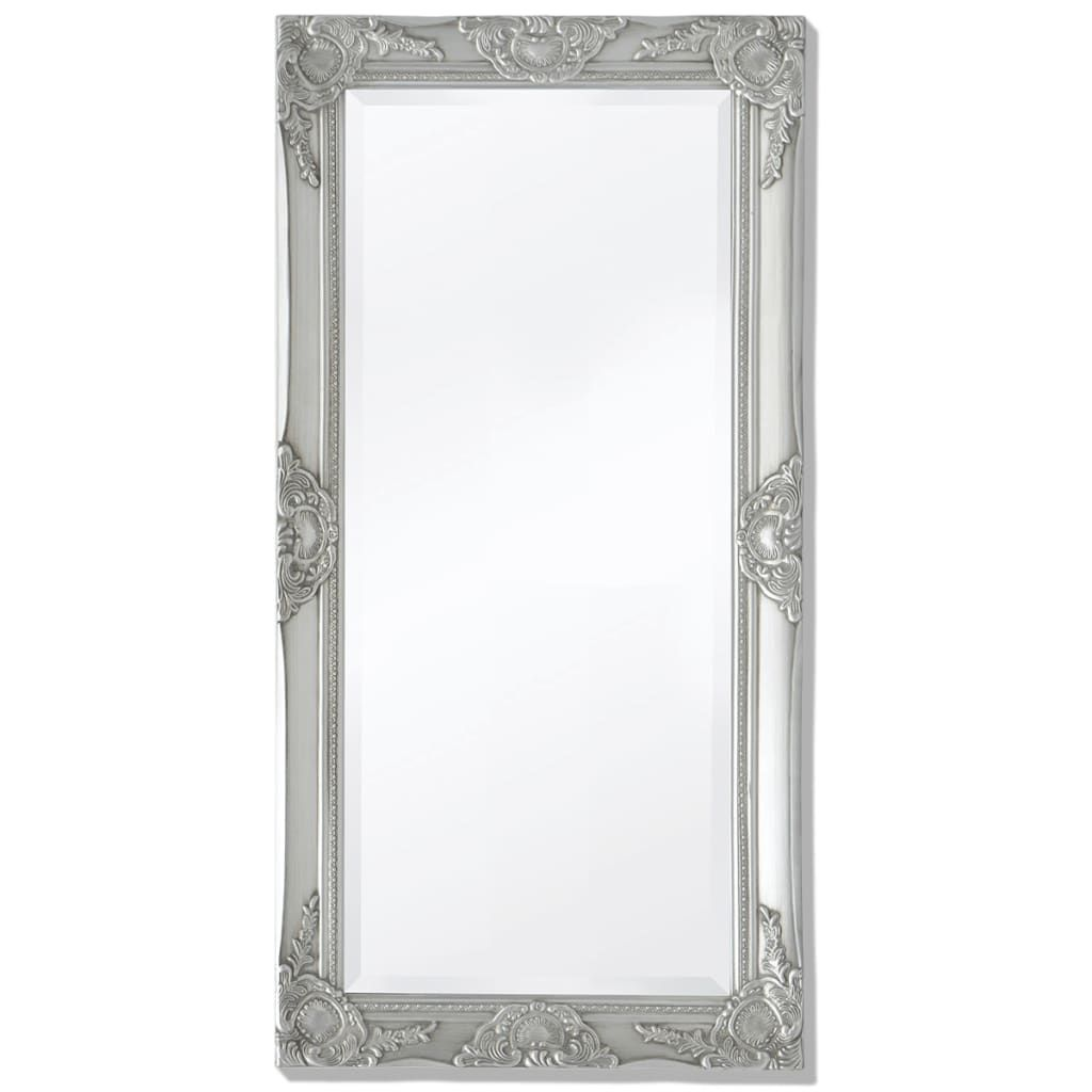 36+ZNTS Wall Mirror Baroque Style 100x50 cm Silver 243681