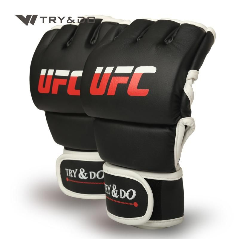 Leather Gloves Adult Boxing Punch Exercise Training Kick MMA Grappling Gloves US