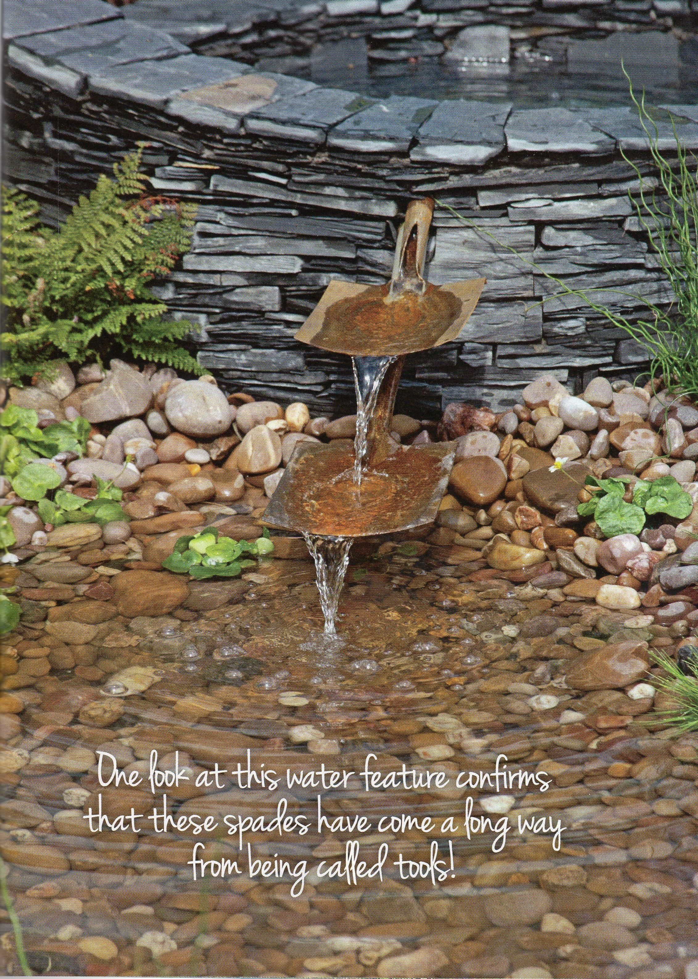tranquil spills water feature on water feature from old shovels water features garden features outdoor gardens water feature from old shovels water