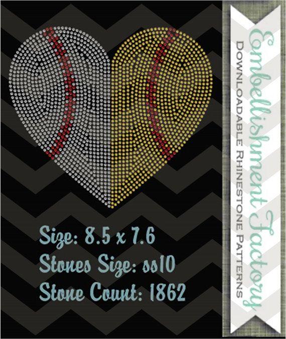 Baseball half softball half heart Template by EmbellishmentFactory