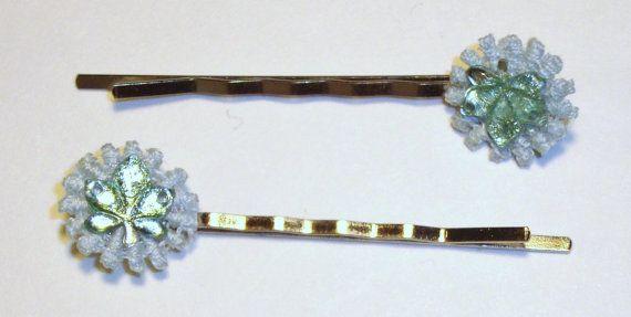 Handmade Doily Daisy and Green Leaf Bobby Pin by AnnieAndAnnie, $3.00