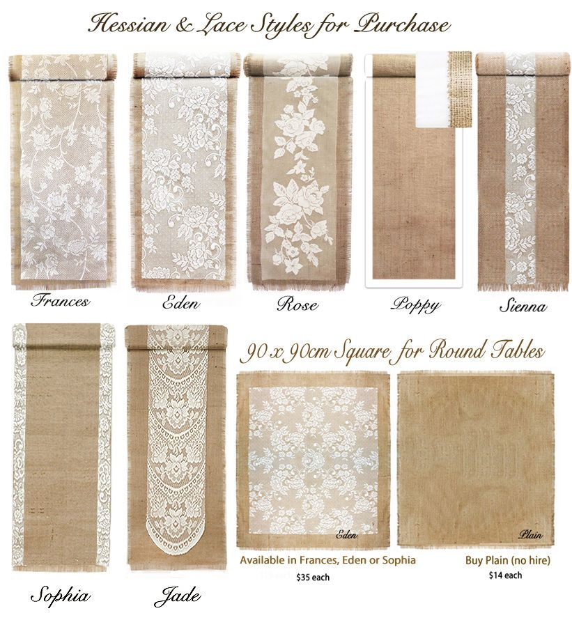 Buy/Hire VINTAGE / Rustic COUNTRY Wedding Hessian Burlap & Lace TABLE RUNNERS