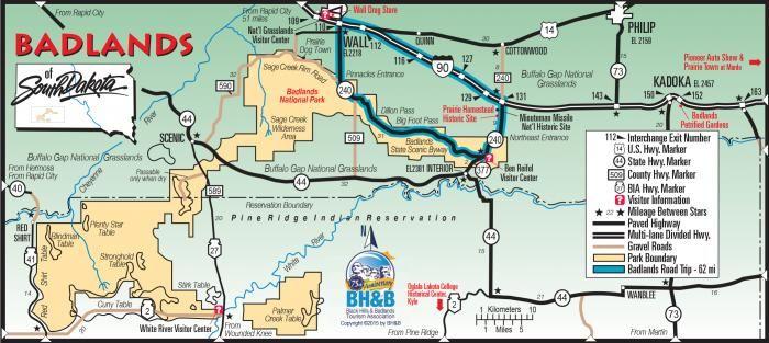 Badlands Wyoming Map.Badlands Map Black Hills Maps Pinterest South Dakota Vacation