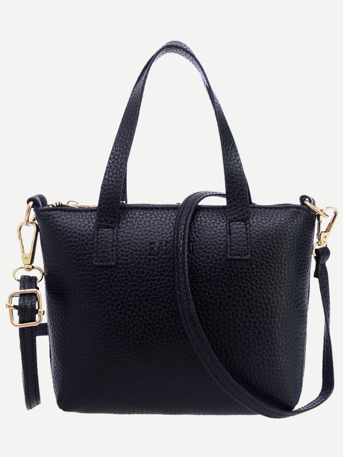 ba205ba17650 Shop Black Pebbled Faux Leather Tote Bag With Strap online. SheIn ...