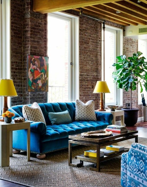 Samt Tapete Und Mbel Blaues Schnes Sofa