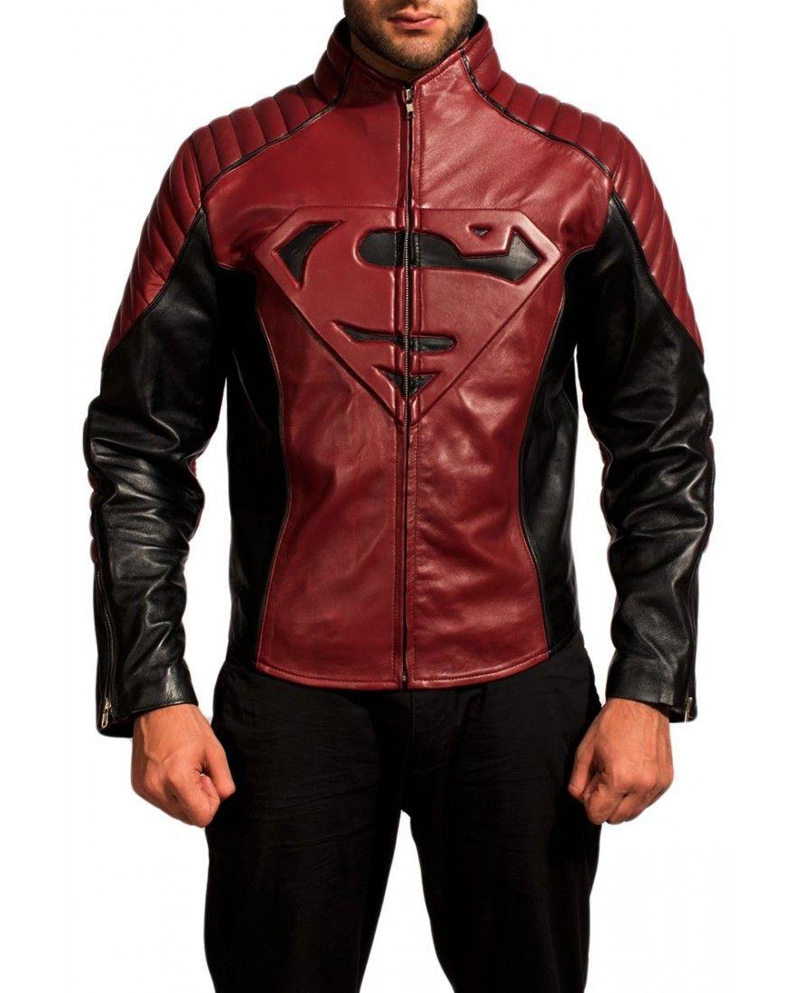 Veste cuir noir superman