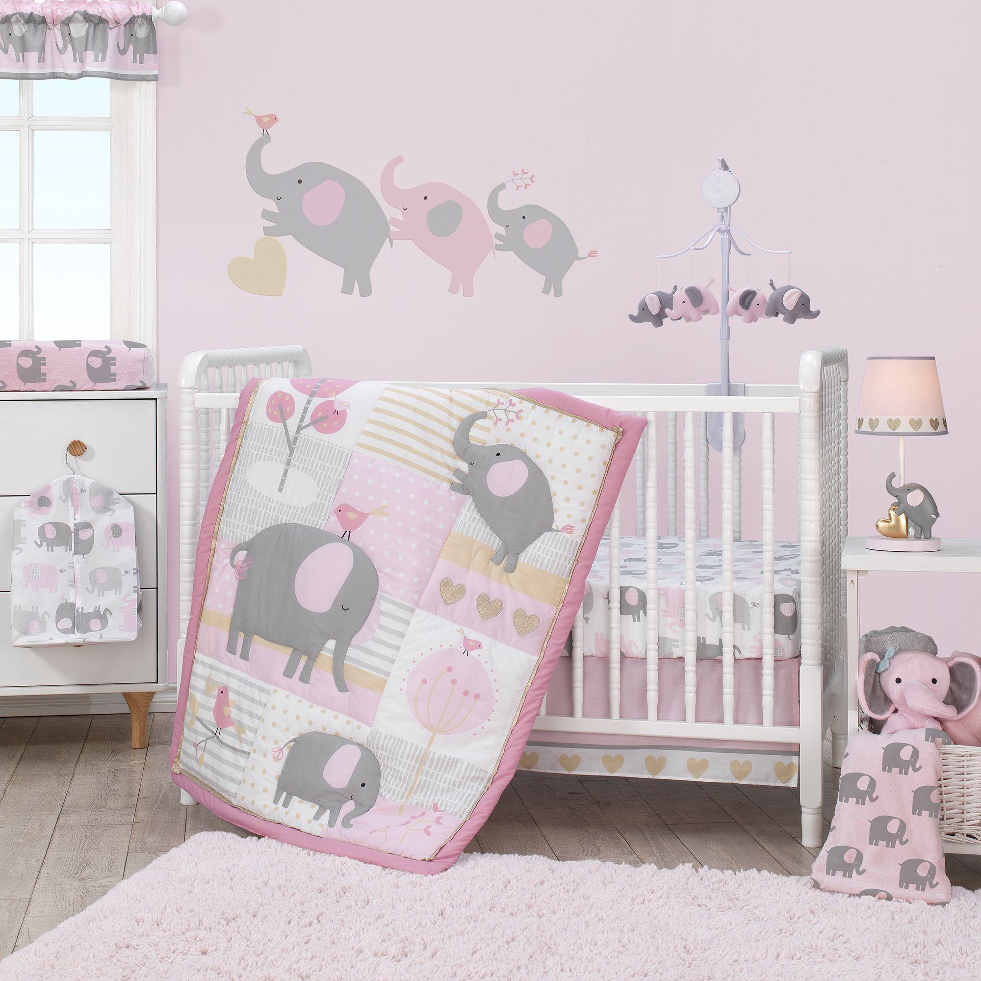 Lambs /& Ivy Boho Elephant White//Pink//Gray Baby Fitted Toddler//Crib Sheet