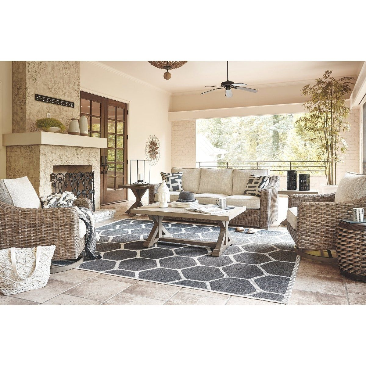 Ashley Furniture Signature Design Clare View Outdoor ... on Clare View Beige Outdoor Living Room id=49613