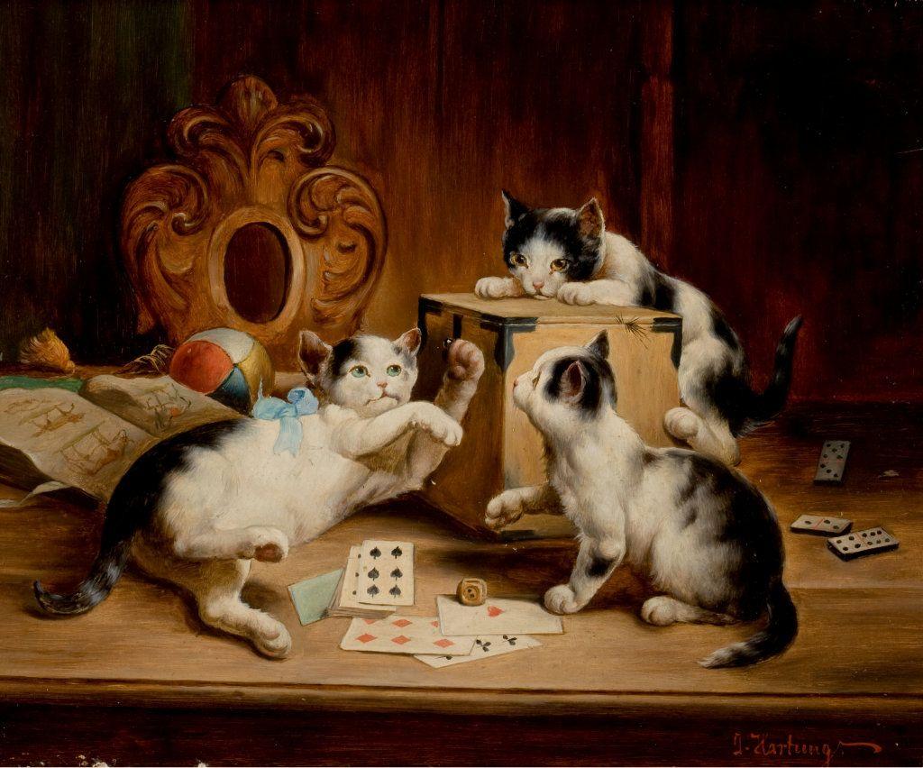 Carl Reichert 1836 1918 Austrian Cat Painting Cat Art Cats Illustration