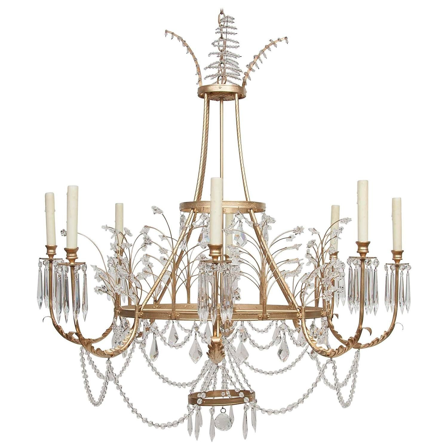 Pin by nicolo melissa antiques on dining pinterest for sale on gold leaf eight arm crystal chandelier by niermann weeks in european style arubaitofo Image collections