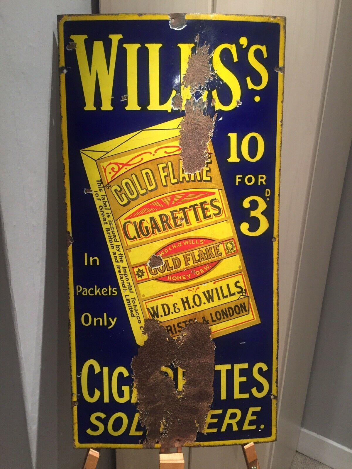 Wills Gold Flake Cigarettes Enamel Sign