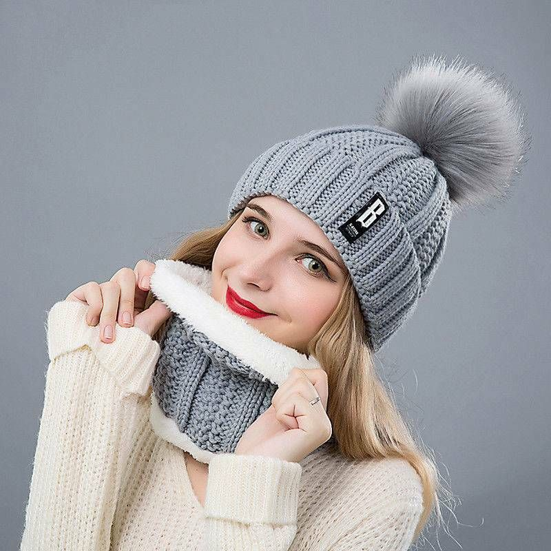 12d80f60099 2Pcs Set Scarf Hat Women Girls Winter Warm Solid Pompoms Knitted Caps  Scarves  fashion  clothing  shoes  accessories  womensaccessories   scarveswraps (ebay ...