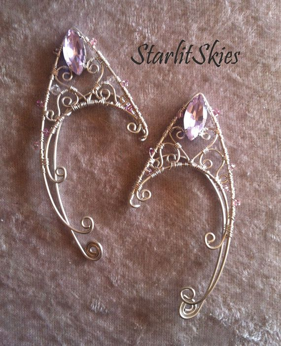 Wire Fae Elf Ears Sweetheart Style with Pink by StarlitSkies