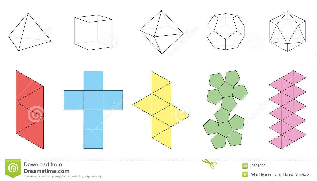 3 dimensional cube template - platonic solids with green surfaces stock vector image