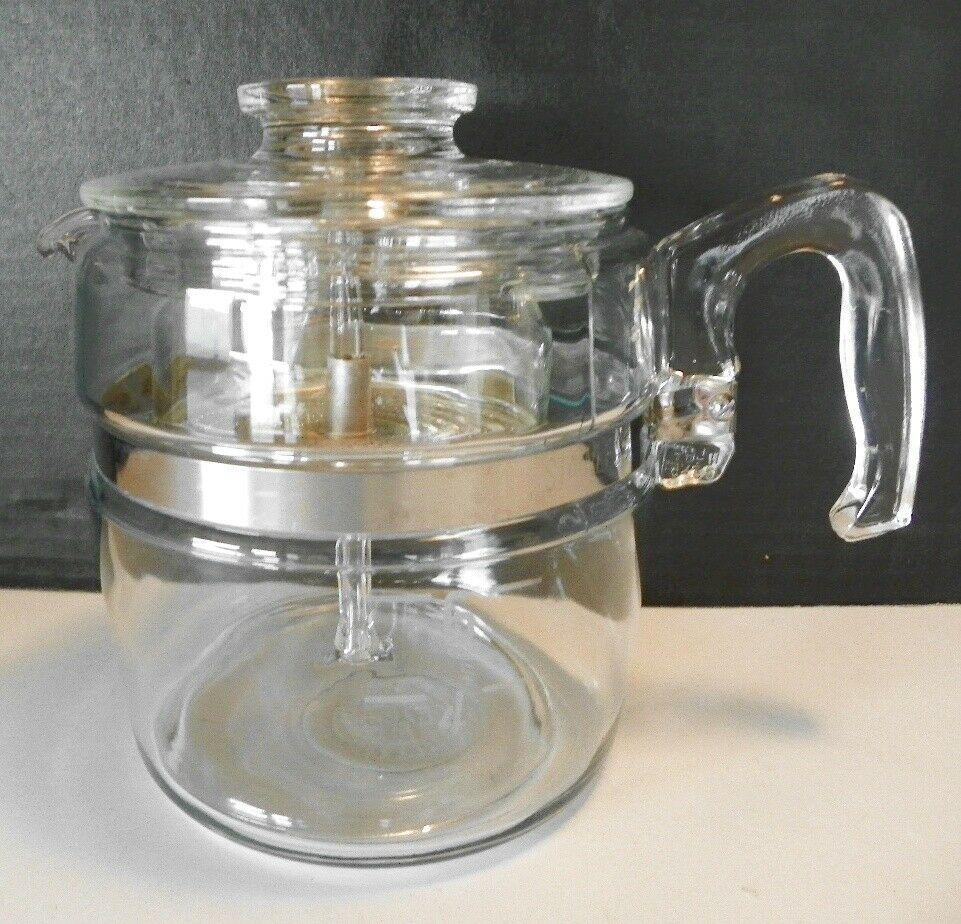 VINTAGE PYREX GLASS PERCOLATOR COFFEE POT 4 96 CUP 7756