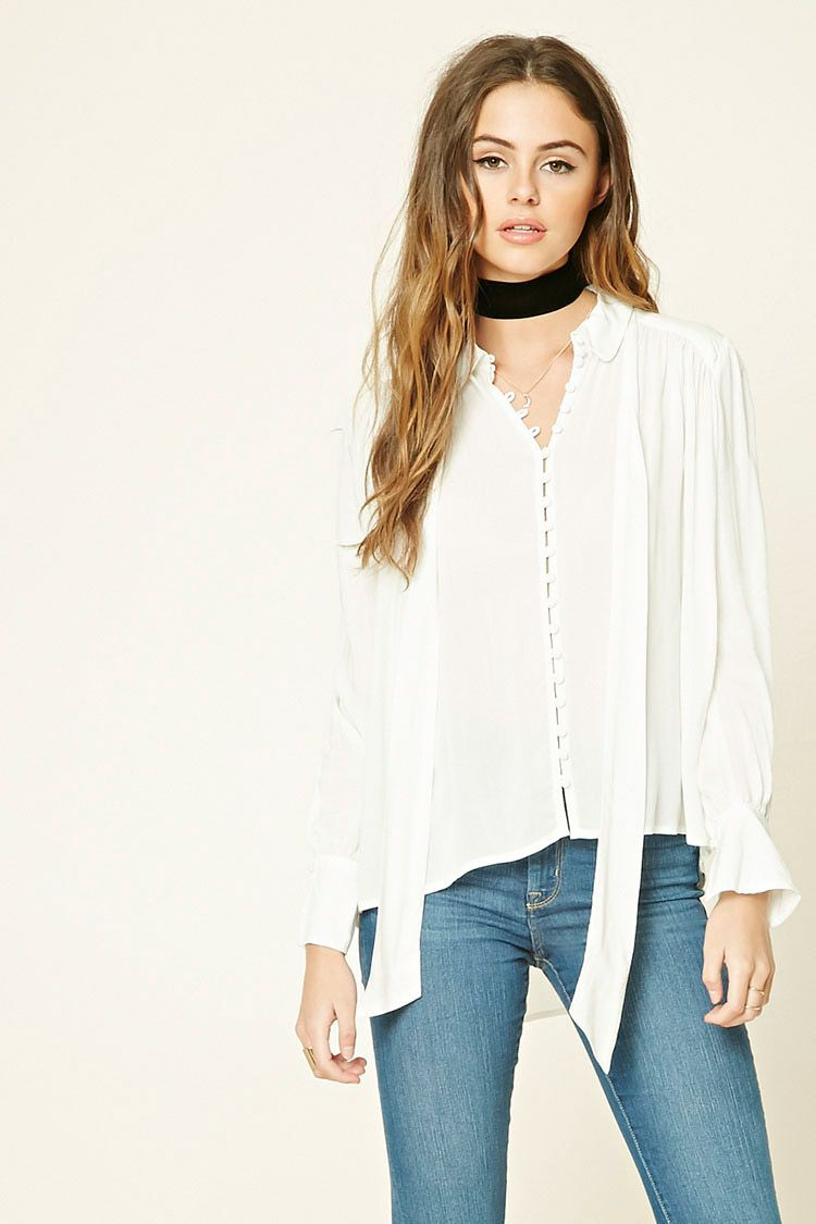 Boxy Tie Neck Shirt Forever 21 2000215203 Tops Fashion