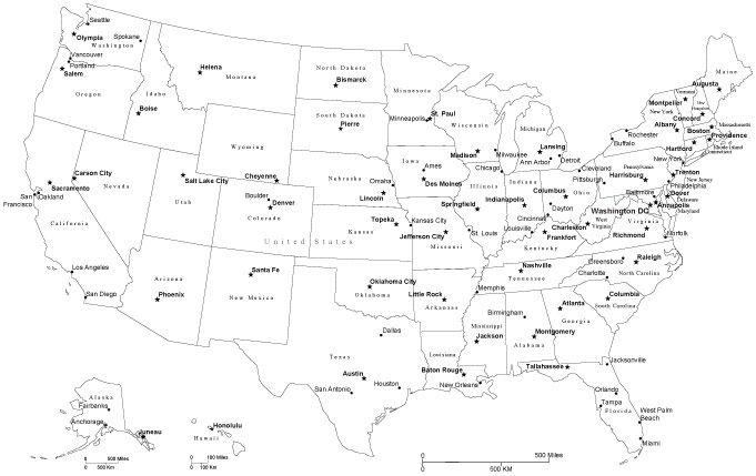 Black & White USA Map with Capitals and Major Cities, Cut ...
