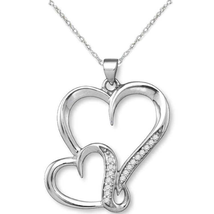 Double Heart Pendant Genuine Diamonds Rhodium on Sterling Silver - Nontarnish Total of 16 Diamonds    SKU: ZJS-86993-P    Double heart pendant has 16 genuine diamonds for a sparkling accent. .925 sterling silver with a hard-wearing, non-tarnish rhodium finish - the same rhodium finish as white gold! Beautiful, affordable gift for Valentines Day, Mother's Day, Christmas, or any time you want to say I Love You!