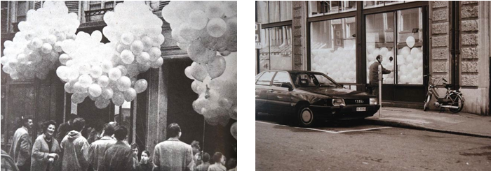 Yves Klein, Mille et ballons bleus, Galerie Iris Clert, 1957   Martin Creed, Half the air in a given space, Galerie Analix B & L Polla, 1998, 2007
