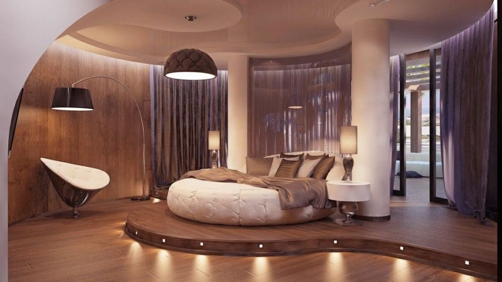 exciting bedroom interior with unique round bed designs rh pinterest com