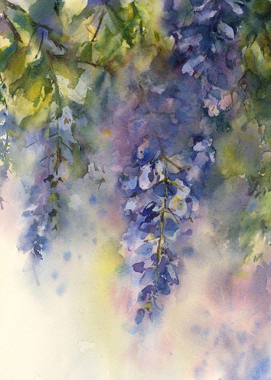 Wisteria Florals Watercolor Painting Original Watercolour Floral Prints Art Botanical Wall Art Flower Painting