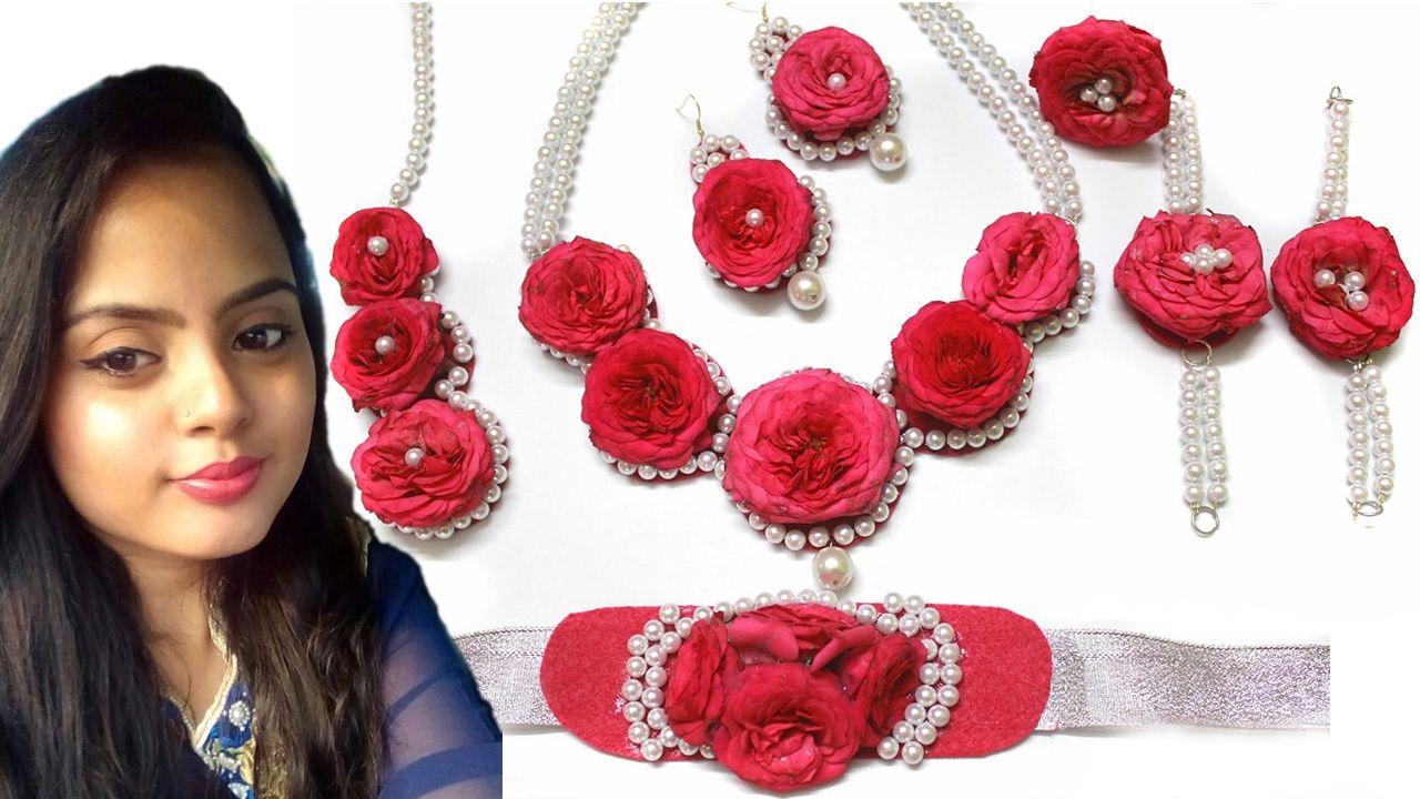 Real Flower Bridal Jewelry For Weddings And Pre Wedding Functions Like Haldi Pithi Mehendi E Holud