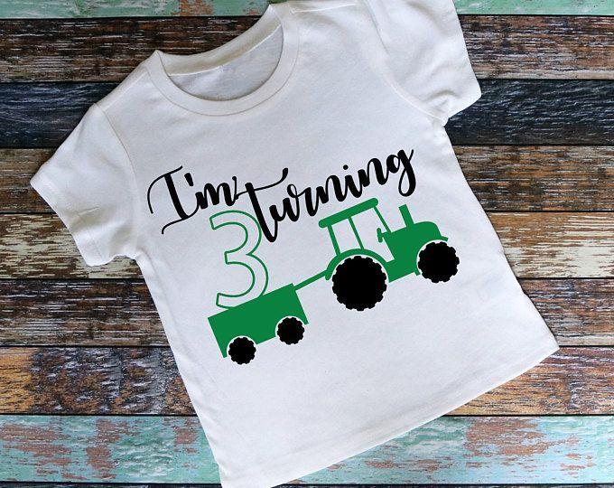 Tractor 3rd Birthday Shirt Boys Raglan Or T