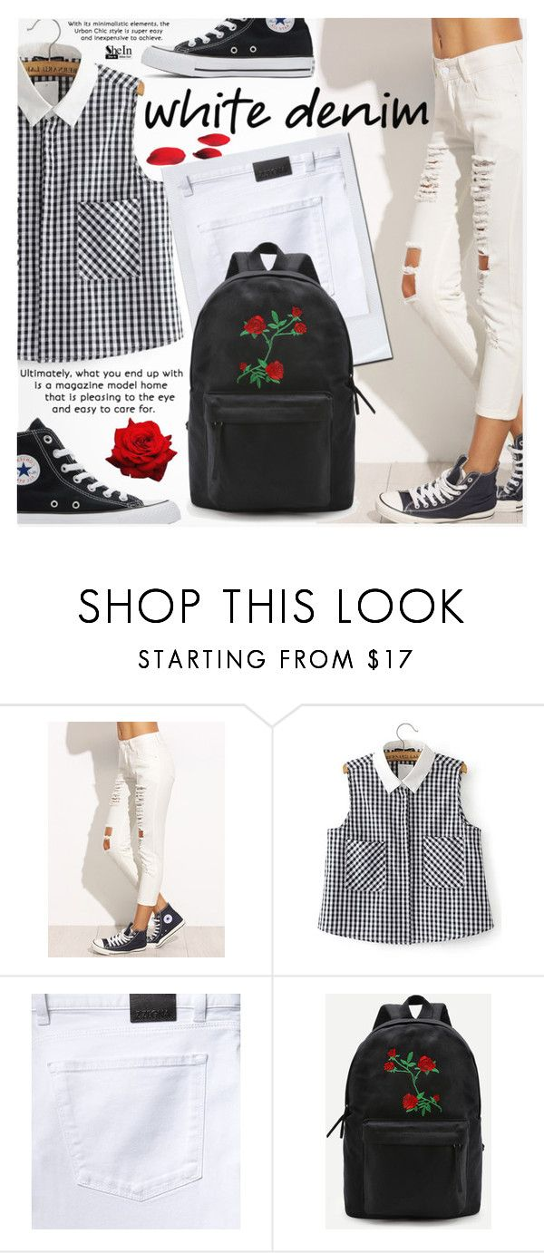 """""""Bright White: Summer Denim"""" by pokadoll ❤ liked on Polyvore featuring Converse"""