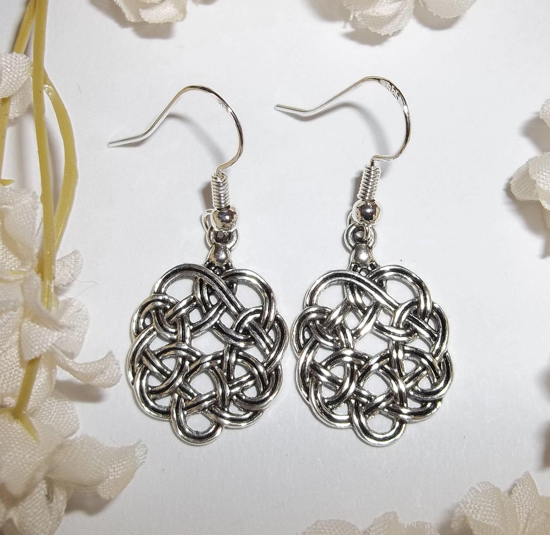 Silver Celtic Pattern Dangle Drop Earrings Jewellery Womens Ladies