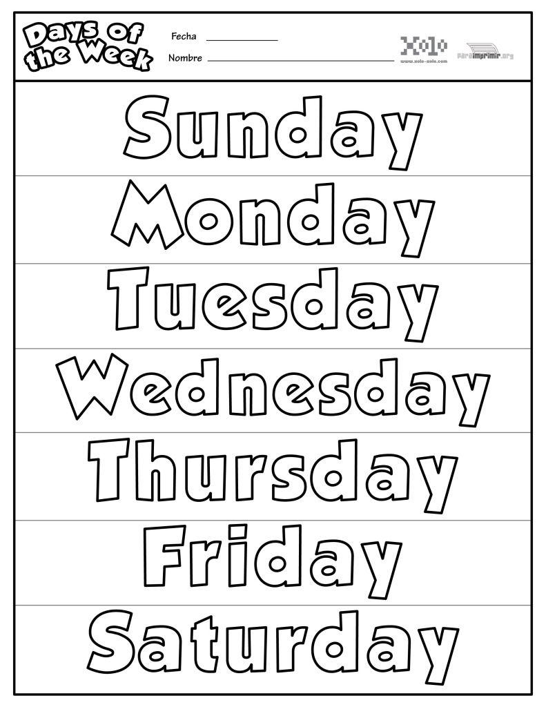 Dias De La Semana En Ingles Para Colorear Y Para Imprimir Ingles Para Preescolar La Semana En Ingles Actividades De Ingles