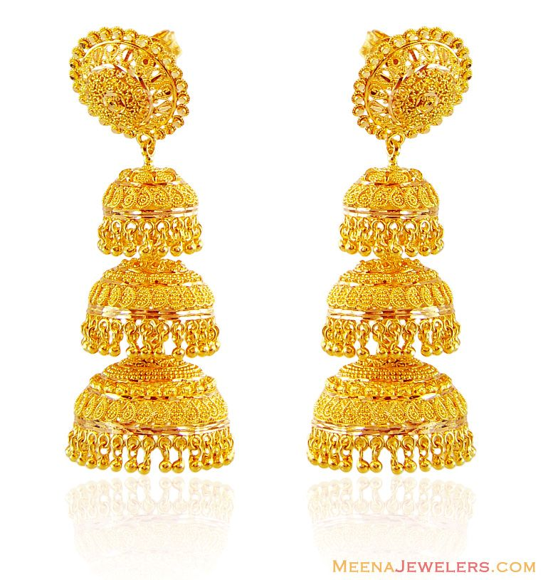 22K Gold Jhumkas | 22K Gold Jhumka Earrings ( 22Kt Gold Fancy ...