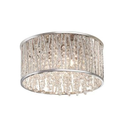 Home Decorators Collection 3 Light Polished Chrome And Crystal Flushmount