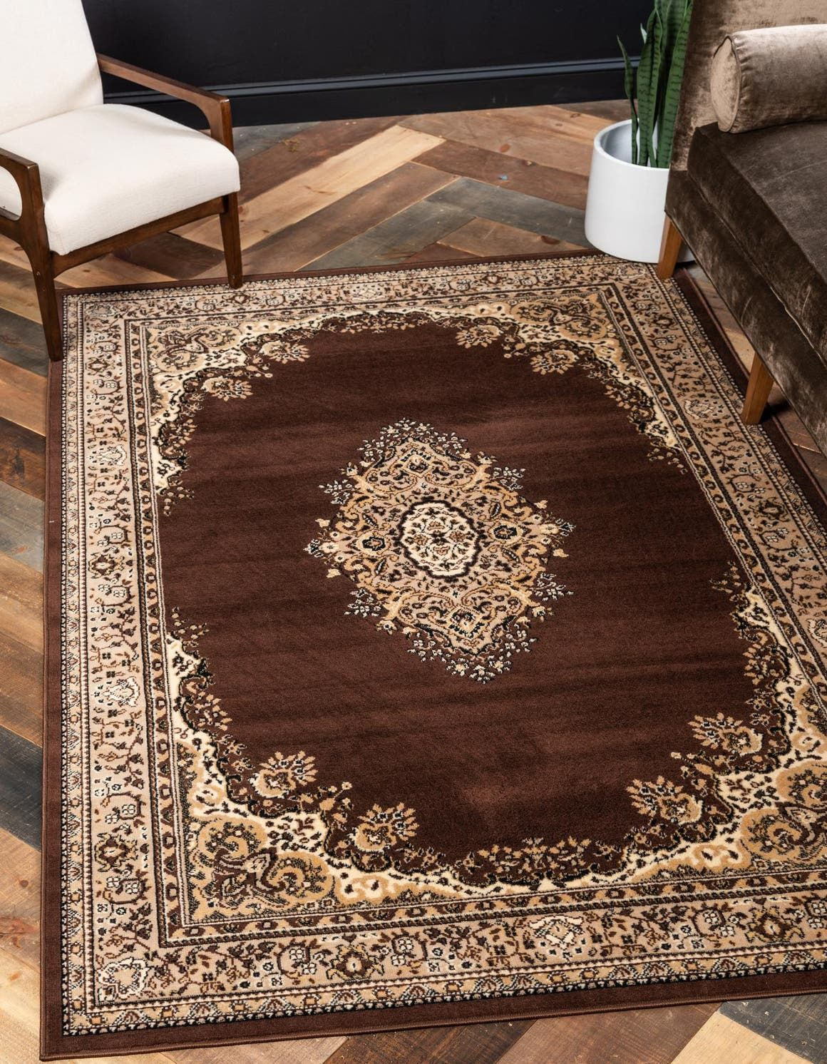 Brown 7 X 10 Mashad Design Rug Esalerugs In 2020 Area Rugs