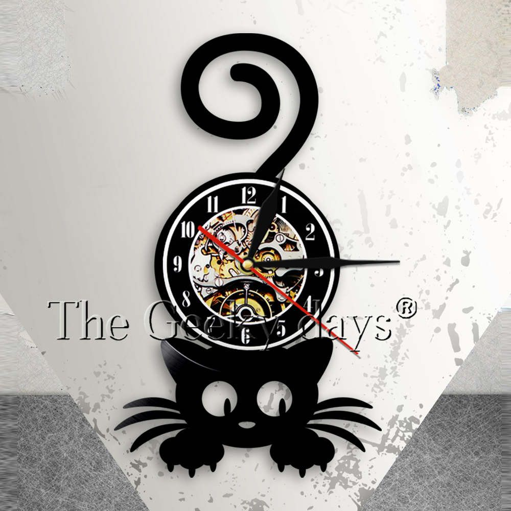 Crazy Cat Lady Wall Art Silhouette Kitten Cat With Funny Tail Home Decor Wall Clock Black Kitty Vinyl Record Clock Cat Pet Lover Review Vinyl Record Clock Crazy Cats Clock