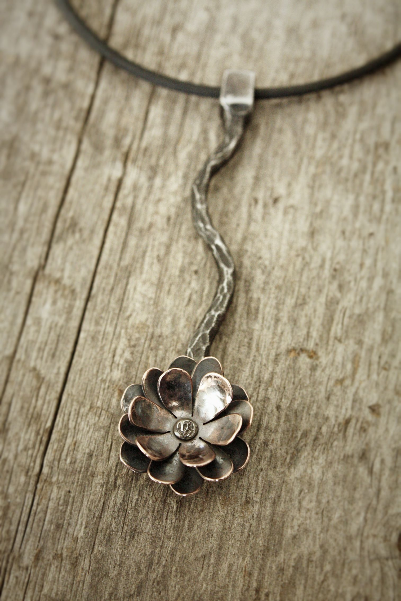 Flower Pendant Forged Steel With Copper Delicate Looking